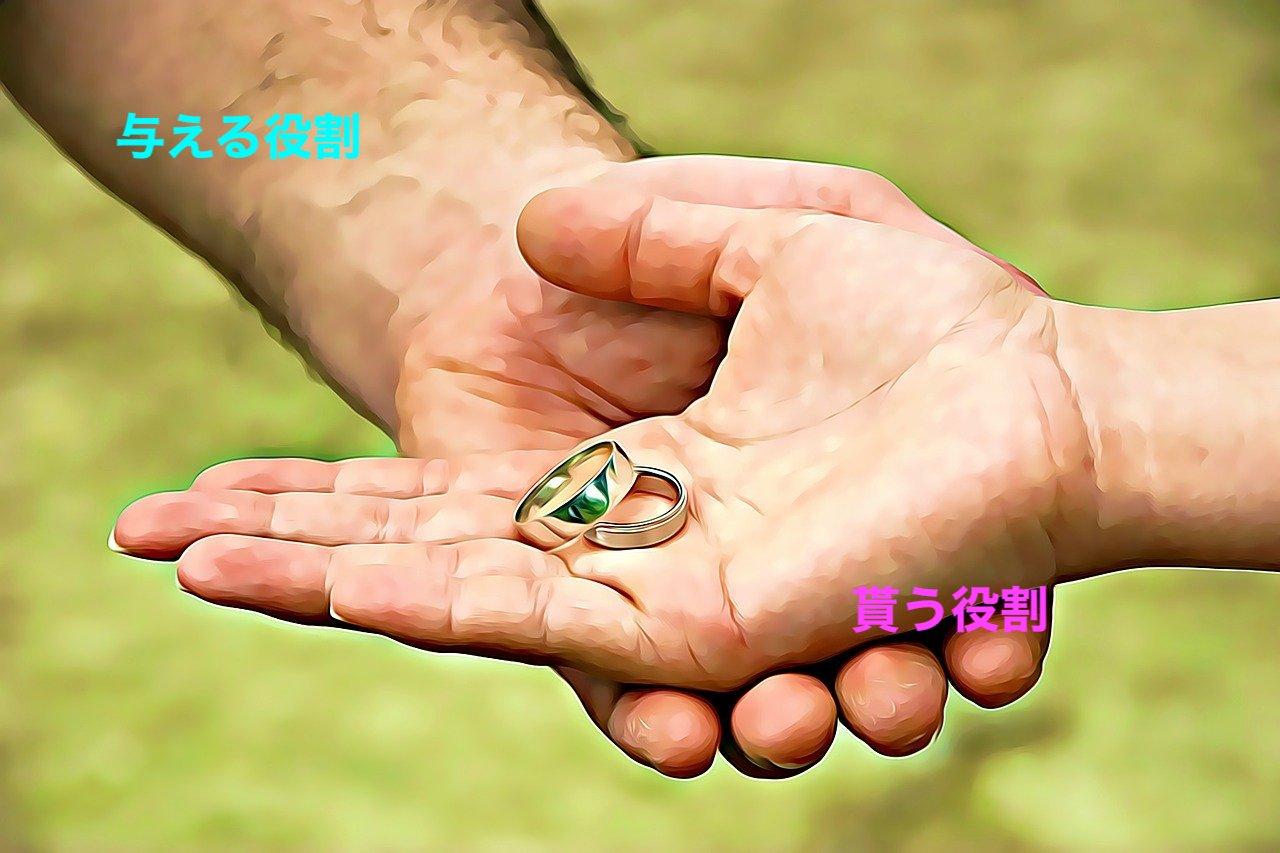 恋愛では「与える人」と「貰う人」で役割が違う。